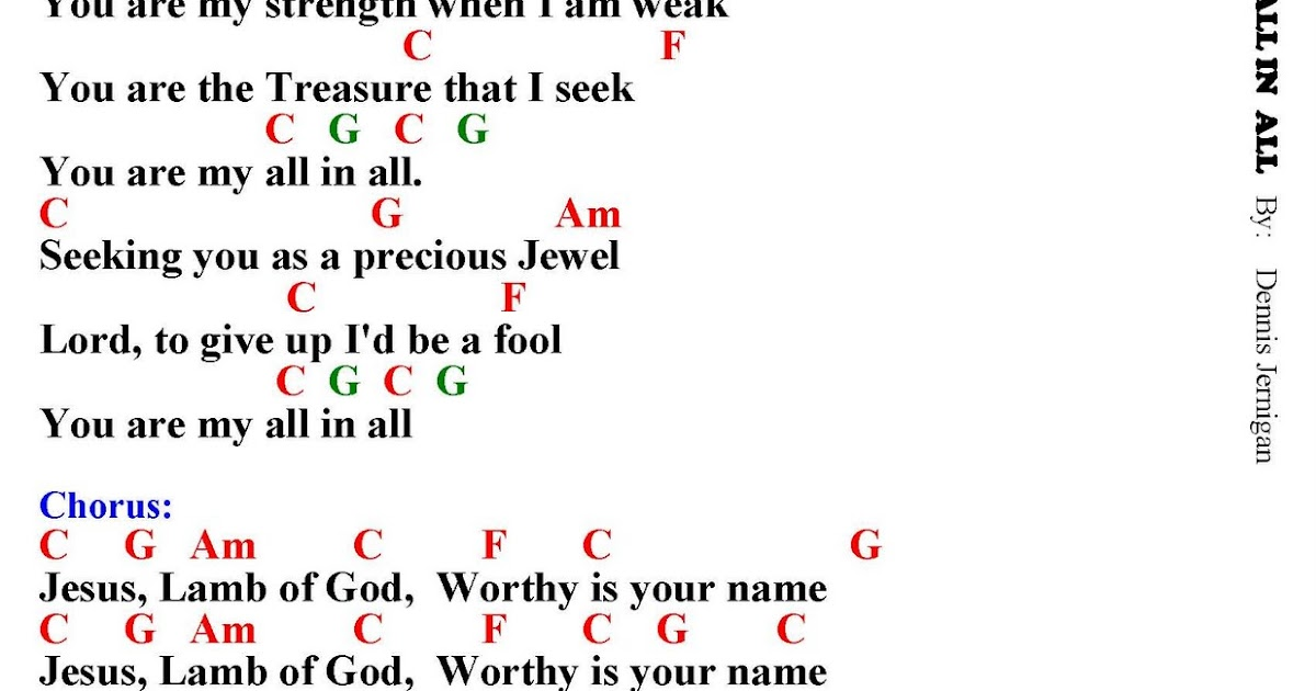 MY ALL IN ALL - lyrics and chords ~ Faith and Music