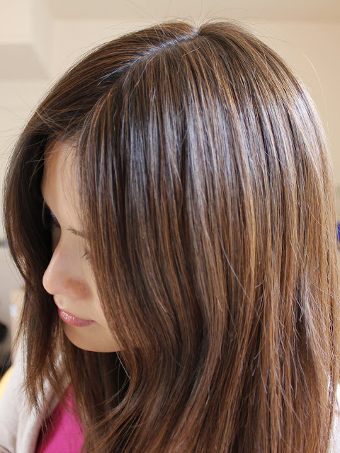 Aveda brown highlights on black hair roots