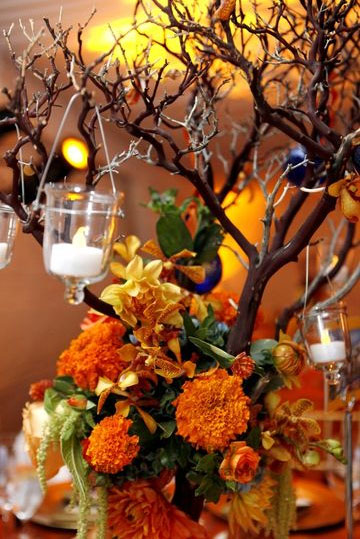 Vibrant Orange Gold Centerpieces