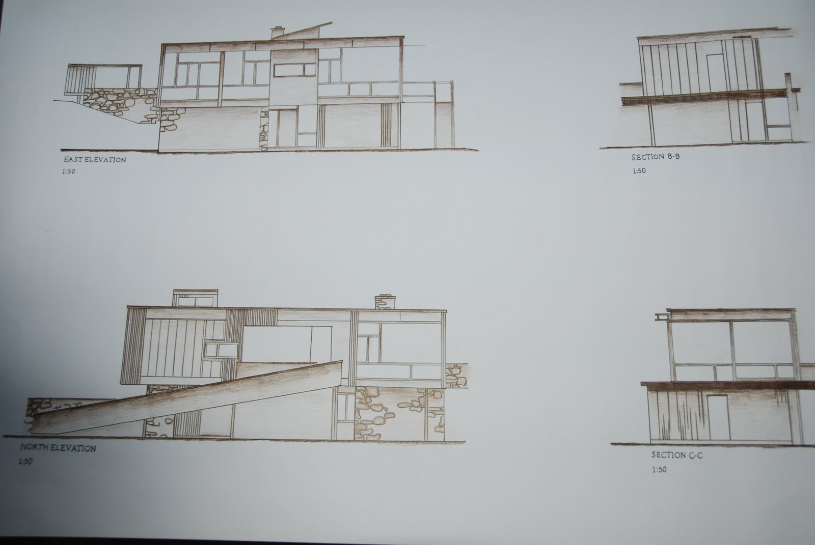 veronica ho  final submission of rose seidler house     rose seidler house  For my final submission  I used the elevations  sections and plans provided for the drawings and used only a brown pencil and lead