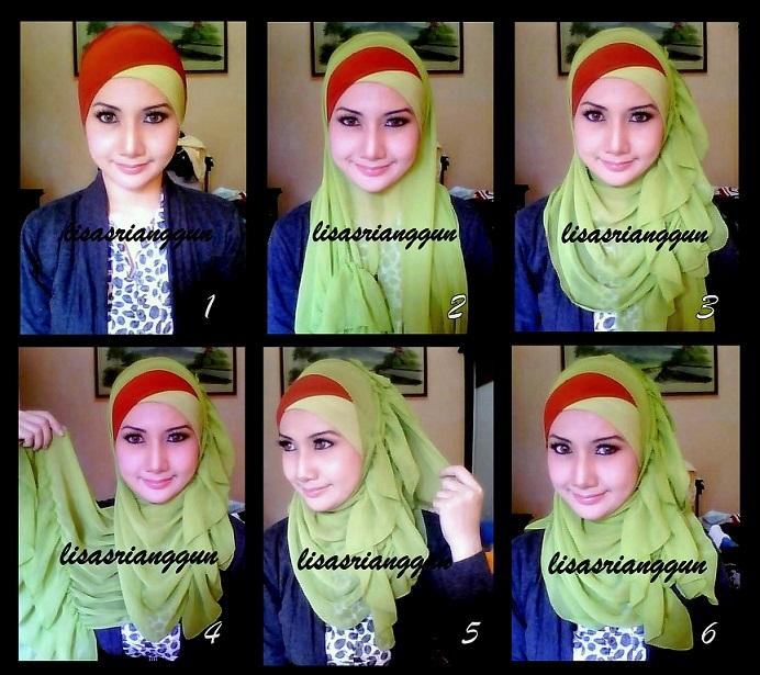 cara cara memakai shawl ombak