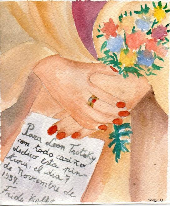 particolare di autoritratto dedicato a Lev Trotzkij 1937 (acquerello)