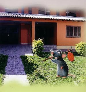 o ratinho no jardim da casa com um saco de roupa nas costas