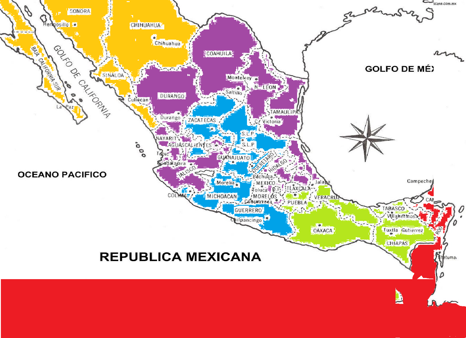 yesenia alejandra  lahistoriatec21 mapa de la republica mexicana