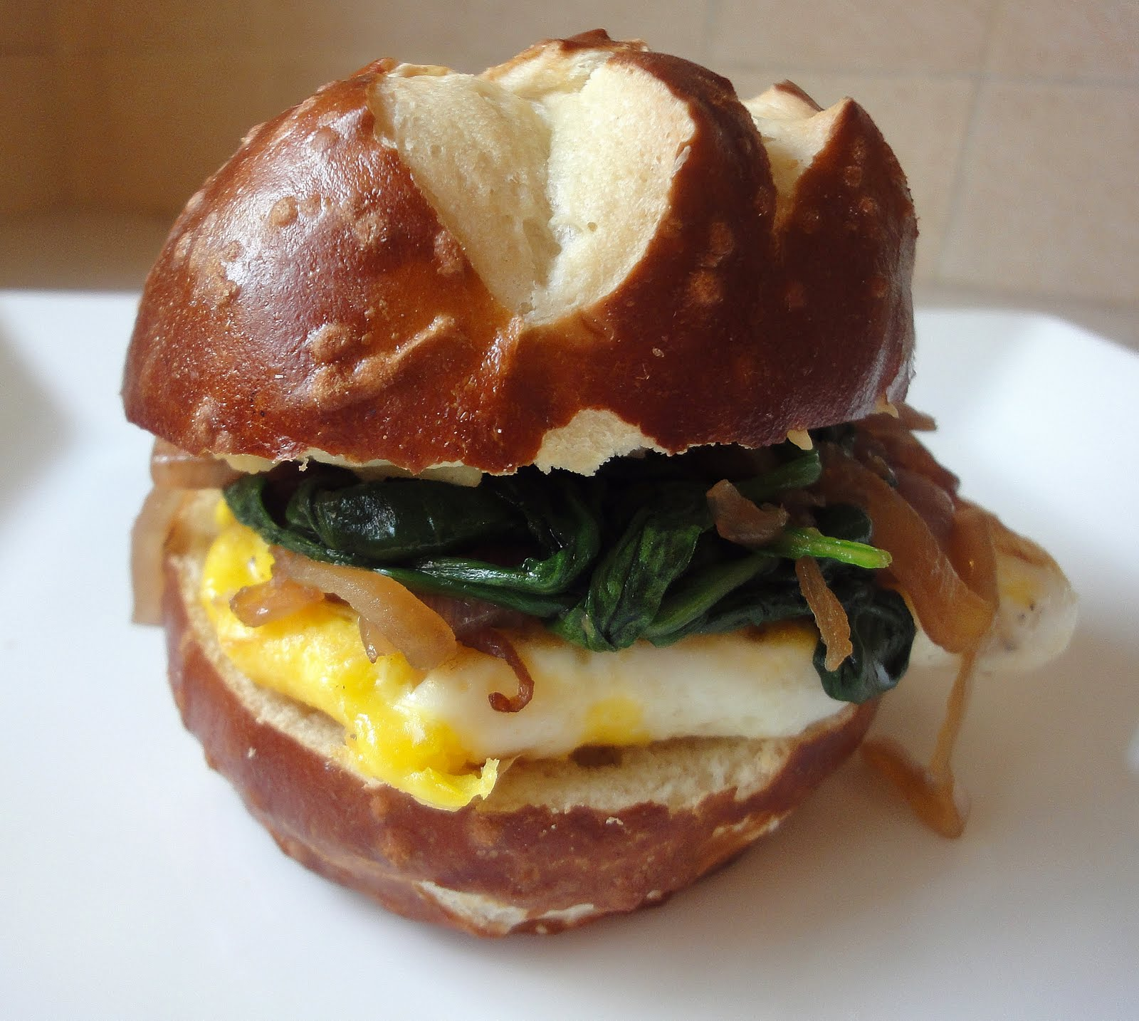Fried Egg Sandwiches On A Pretzel Roll My New Obsession