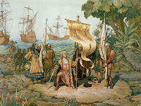 Christopher Columbus and his sailors taking possession of indigenous islands