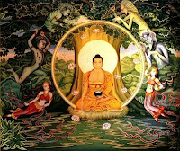 Siddharta Gautama the Buddha meditating at the boddhi tree