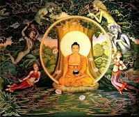 Siddharta Gautama the Buddha meditating at the boddhi tree