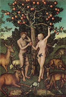 Naked Adam and Eve at the tree of knowledge