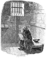 Drawing of an old and lonely criminal in a dark cell