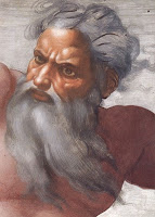 Painting of God with long flowing beard and white hair