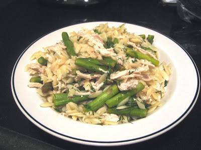 Scarlet: Lemon-Dill Orzo Salad with Asparagus and Poached Chicken