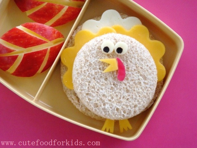 Cute Food For Kids Thanksgiving Bento Lunch Sandwich Turkey