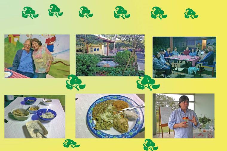 Servindo os alunos com pratos saborosos, temperados com ervas..