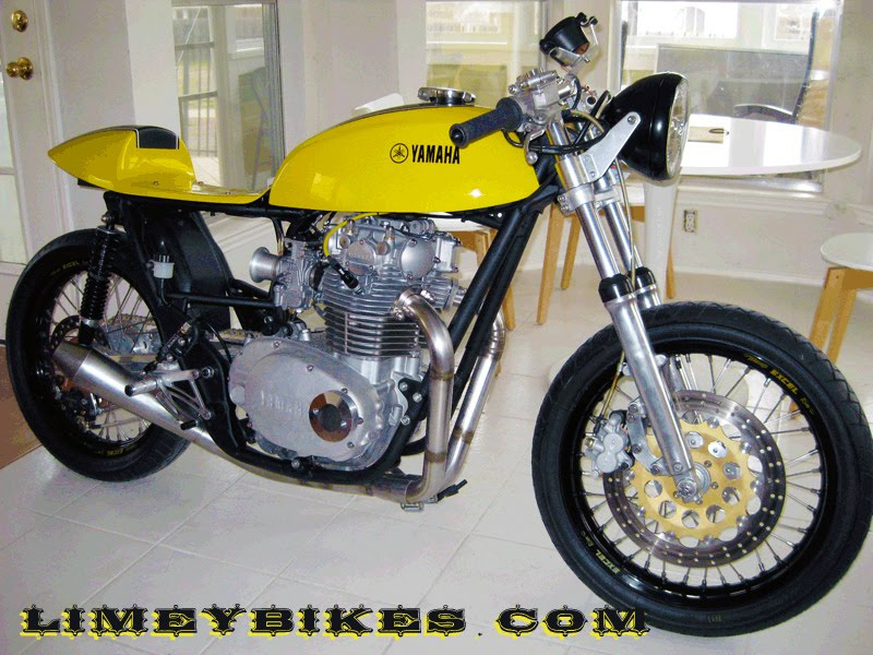 yamaha xs650 cafe racer right in the kitchen like a good garage builder | limeybikes
