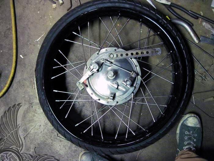 laced 21-inch, 36 spoke wheel
