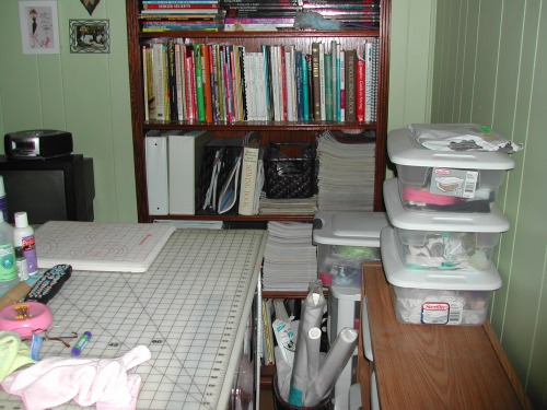 The bookcase holds all my sewing books bwofs and some other