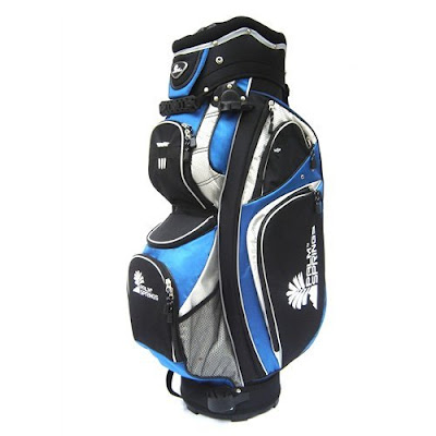 University of Connecticut (UConn) colored golf bag blue, black, and white.