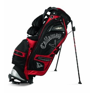 Boston College (BC) Eagles colored golf bag that is maroon, red, and black.