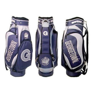 Georgetown University Hoyas golf bag colored gray and blue.