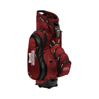 Mississippi State University Bulldogs golf bag that is maroon and built for using on a golf cart.