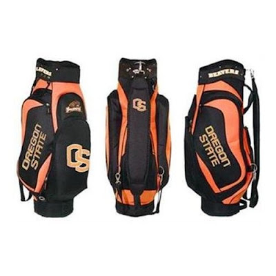 Oregon State University Beavers golf bag colored black and orange.