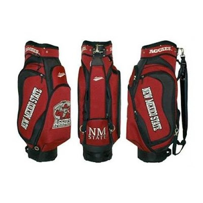 New Mexico State University Aggies golf bag colored in crimson, red, white, and black.