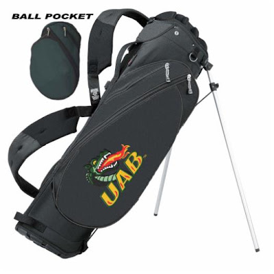 University of Alabama Birmingham (UAB) Dragons golf bag colored green, black, and gold.