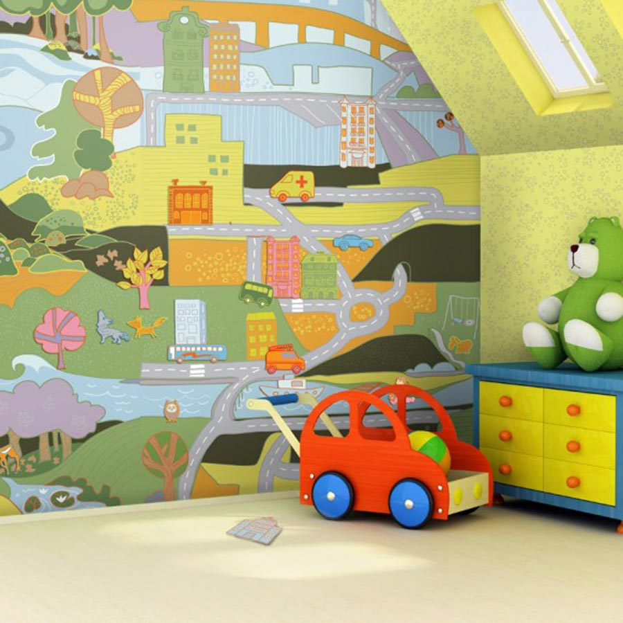 Baby nursery wallpaper ideas mervin diecast for Childrens wall mural wallpaper
