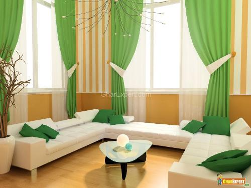 green curtains living