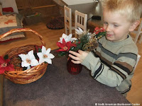 NAMC montessori winter holiday activities flower arranging