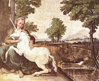 Virgin and Unicorn, by Domenichino (1605-6) - via Wikimedia Commons - public domain.
