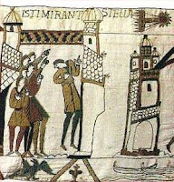 Halley's comet betokening bale and war, from the Bayeux Tapestry, c.1077 - public domain.
