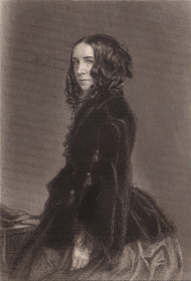 Elizabeth Barrett Browning, photographed 1859 by Macaire Havre, engraving by T O Barlow 1871 - public domain, via Josette at Wikimedia Commons