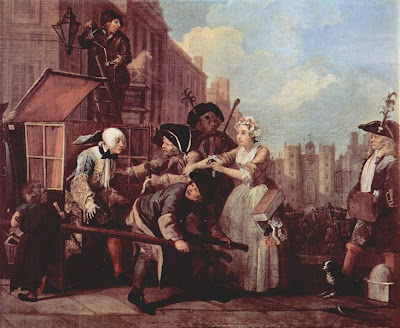 From the Rake's Progress - Sarah Young bails out her callous and spendthrift babyfather, Tom Rakewell.  Give 'im up, love, he's not worth it! - by William Hogarth (1735) - public domain, via Wikimedia Commons