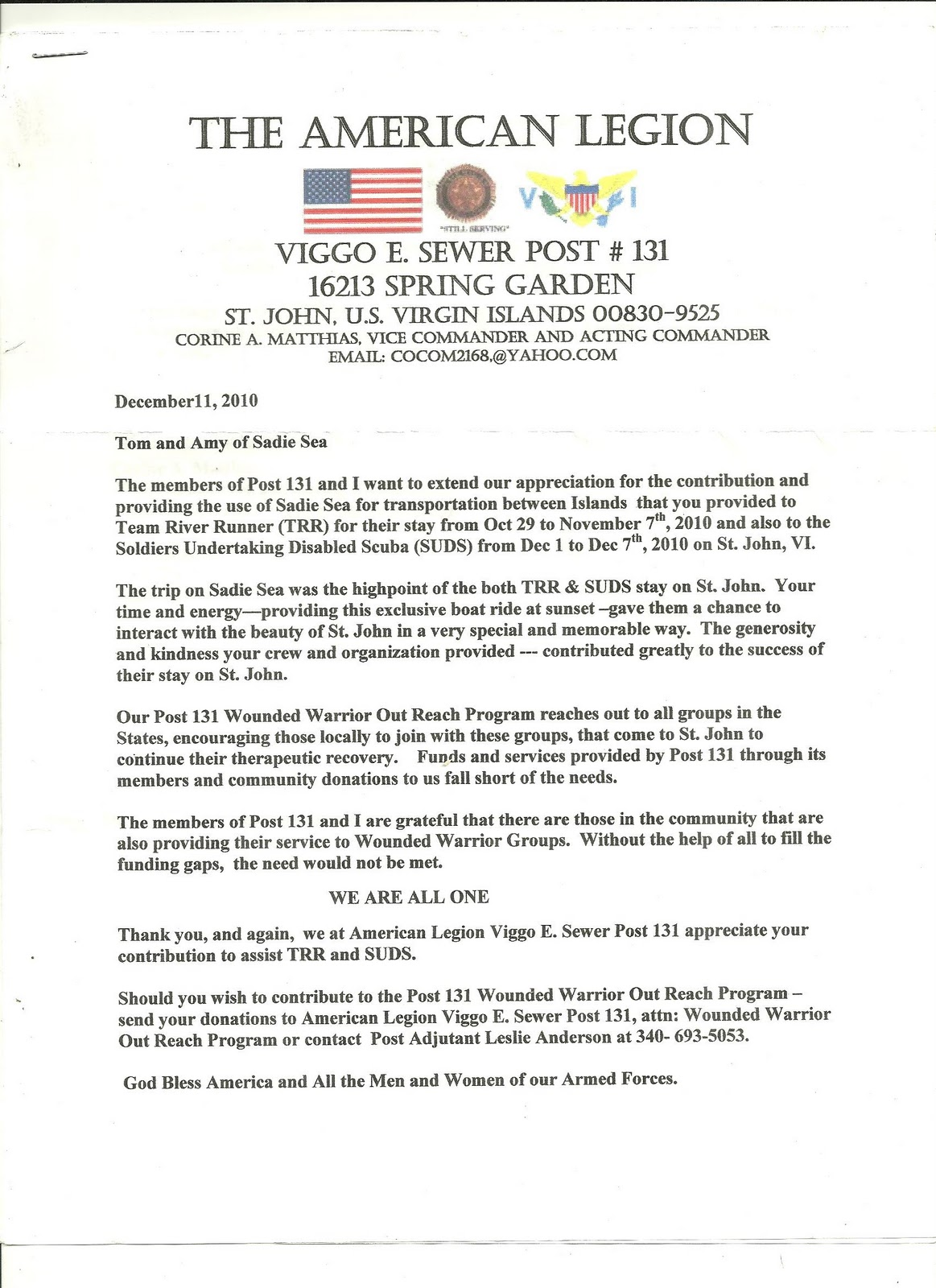 Sadie sea love city charters letter of appreciation from for American legion donation letter