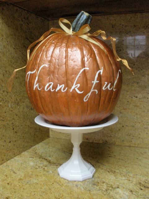 copper, paint, pumpkin, ribbon, thankful