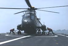 Helicoptero Seaking despegando de fragata