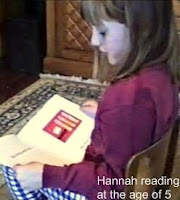Hannah reading at the age of 5