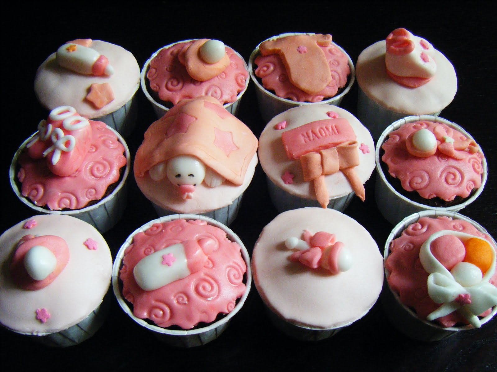 ecupcakes baby girls shower cupcakes