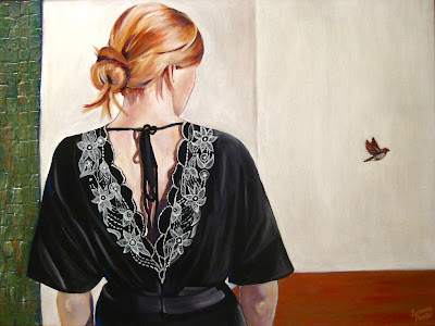 """""""And The Spice Finch Flew Away"""" painting by Susanna Pantas"""