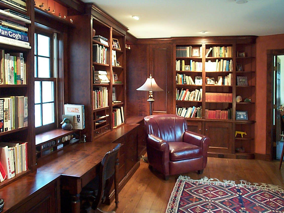 This Stained Cherry Library Had Some Beautiful Details...The Soft Lighting  For The Miniature Decoys Over The Windows, A Fly Tying Desk., A U0027secretu0027  Gun ...