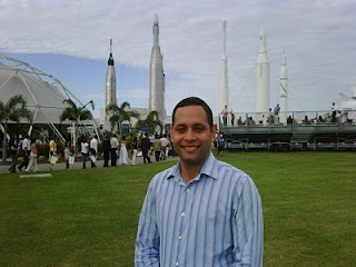 Flight instructor Francisco Diaz, originally from the Dominican Republic, became a U.S. Citizen in the shadow of historic NASA rockets at the Kennedy Space Center on July 1, 2010