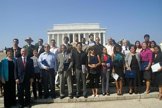 Director Mayorkas with new citizens in front of Lincoln Memorial