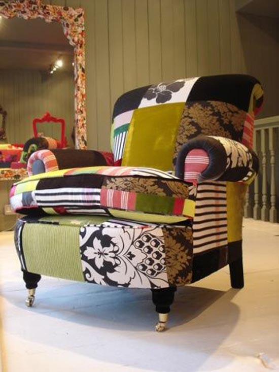 Whimsical world of laura bird patchwork furniture lisa for Funky furniture