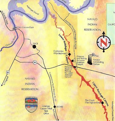 แผนที่ หุบเขาแอนทีโลพ Antelope Canyon