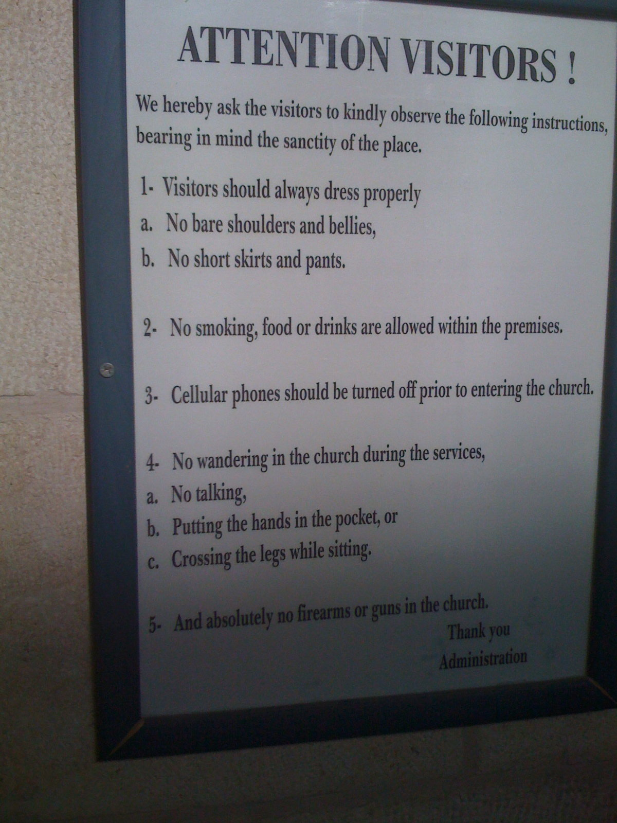 Rules Before Entering A Church