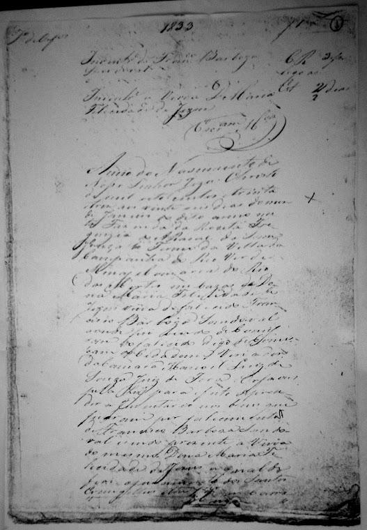 Inventário de Francisco Barbosa Sandoval - 1833