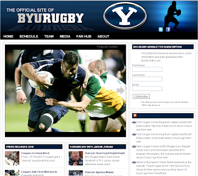 The look of the new 2010 BYU Rugby website