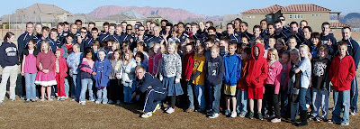 BYU Rugby team members mingle with local schoolchildren in a show of community outreach and appreciation